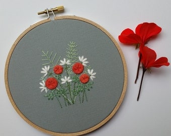 Lily and Rose Garden Hoop Art. Hand Embroidered Hoop Art. 5 inch Hoop. Hand Embroidery. Floral. Hand Stitched. Fiber Art. Wall Art. Decor.