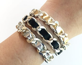 Mini CoCo Leather Curb Chain Bracelet
