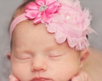 Infant Baby Girl Pink Flower Headband with Pearl and Rhinestone