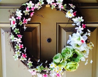 Spring celebration grapevine wreath