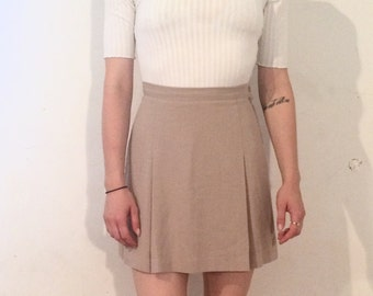 Vintage 90's | Esprit tan pleated high waisted mini skirt | Size small