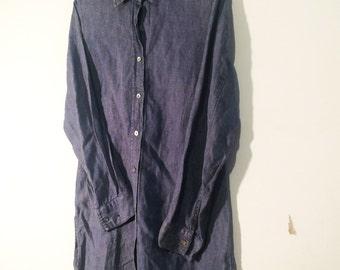 Vintage 90's | Denim linen shirt dress | Size medium
