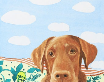 The Chocolate Labrador Retriever Original Watercolor Painting, Pet Illustration by Ezartesa