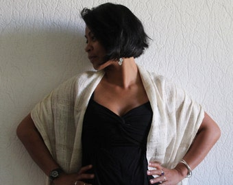 "SCARF silk ""I-AMPY"", beige color, made from organic wild silk of fair trade, woman scarf, silk, accessories women, fashion"