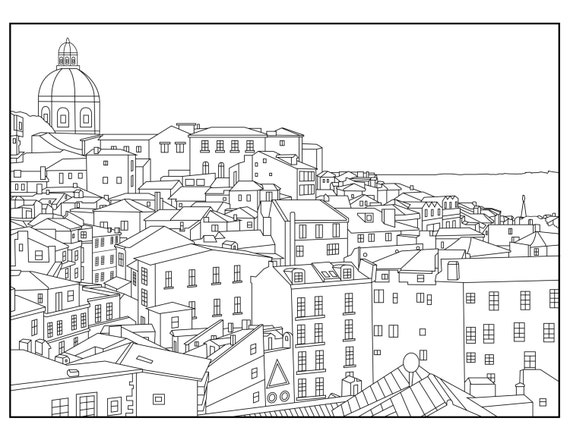 Portugal Adult Coloring Page Coloring Lisbon by Wandertooth
