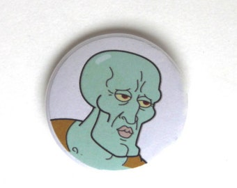 """Handsome Squidward 1.5"""" & 2.25"""" Button"""