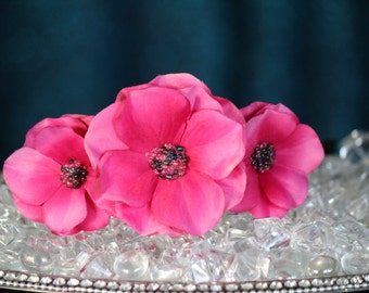 FabuStyle Pink Layered Silk Flower Fascinator Headband with Bead Centers