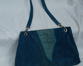 Handcrafted Turquoise Suede & Embossed Leather Tote