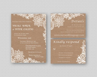 Rustic Wedding Invitation Suite Printable, Kraft Wedding Invitation Set, Lace Wedding Invitation Template, Vintage Invitation Printable DIY