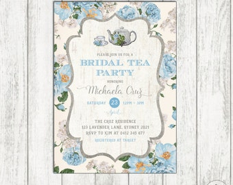 Bridal TEA PARTY Invitation. Vintage Bridal Shower Invite. Blue Floral High Tea Invitation. Roses Vintage Tea Party Printable. TEA2