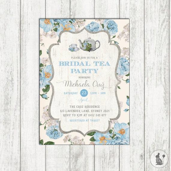Bridal TEA PARTY Invitation Vintage Shower Invite Blue
