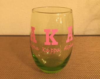 Alpha Kappa Alpha Stemless Wine Glass