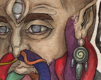 "Original Watercolor Painting - ""GORGONO"" Medusa Third-Eye Snake Spirit God"