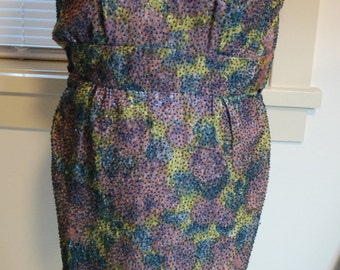 1950's Vintage Branell watercolor wiggle  Dress