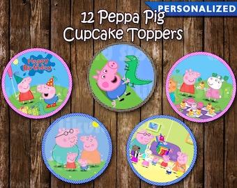 Peppa Pig Cupcake Toppers - Peppa Pig Birthday Decoration - Peppa Pig Party (Printable Digital File)