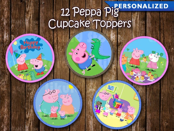 Peppa Pig Cupcake Toppers Peppa Pig Birthday Decoration
