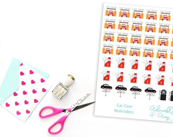 Car Care Reminder Planner Stickers for Erin Condren, Plum Planner, Inkwell Press, Filofax, Kikki K or Any Size Planners