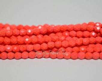4MM, Coral, Round Faceted, Fire Polished Czech Glass Beads - 50 Beads