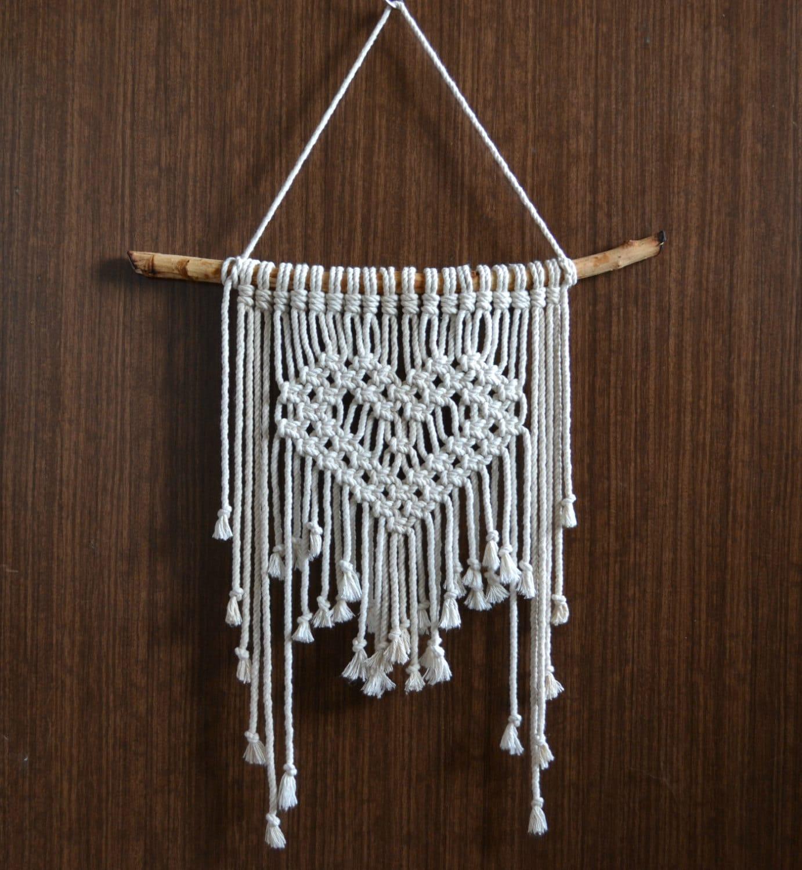 Macrame wall hanging heart macrame macrame wall art bohemian for Hanging wall art