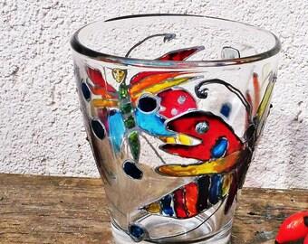 Butterfly Painted Glass Mug, Painted Glass Mug, Hand Painted Mug, Cute Coffee Mug, Funny Painted Mug, Painted Tea Cup, Painted Glass Cup