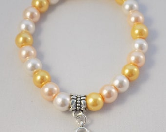 Handmade Amber Appendix awareness medium 7.5 inch stretchy bracelet