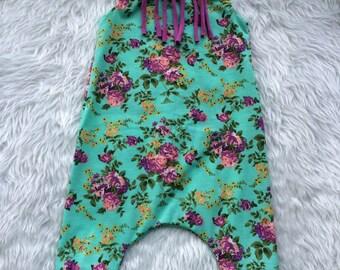Baby girl floral fringe harem romper
