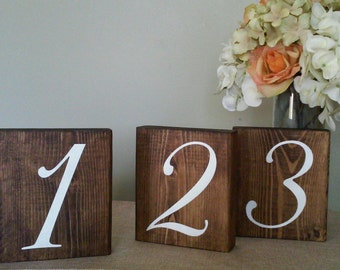 "Wooden Rustic Wedding table number seating reception wood blocks centerpiece setting 5.5"" wide x 6.25"" tall"
