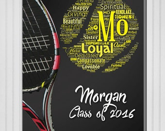Personalized Sports (Tennis) Word / Text Wall Decor Print (Canvas or Metal)