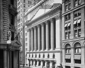 Print, New York Stock Exchange, NYSE, Wall Street, Art, Canvas, Gift, Vintage, City
