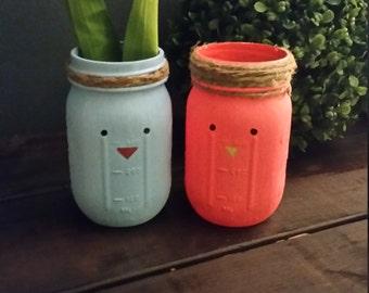 Blue & Pink Bird Easter/Spring Vases