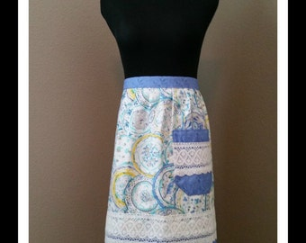 Light Blue China Pattern Apron, Yellow accents, Light Blue Trim, Lace accents