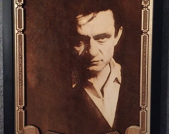 Johnny Cash - The Man in Black - Laser Engraved Portrait