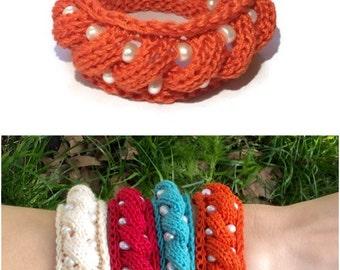 Charm bracelet Terracotta bracelet pearls jewelry handmade bangle bracelet girlfriend gift knit boho bracelet crochet jewelry holiday gift