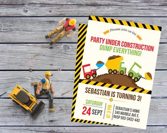 Construction Birthday invitation, Construction Invitation, Construction Birthday, Construction Invitations,  Birthday Invitations, dump