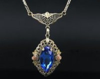 1940's Royal Blue Marquise Czech Glass Pendant Necklace