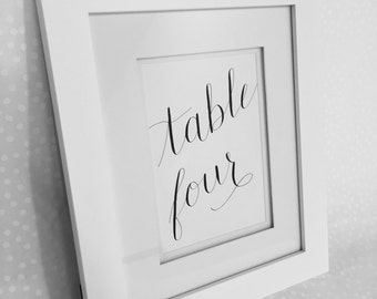 Wedding Calligraphy Table Numbers / Custom Table Numbers / Wedding Table Signs