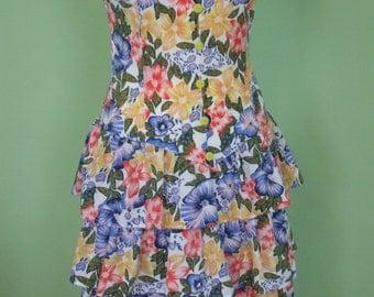 80s dress / size S /  flounce dress / flowerprint / vintage
