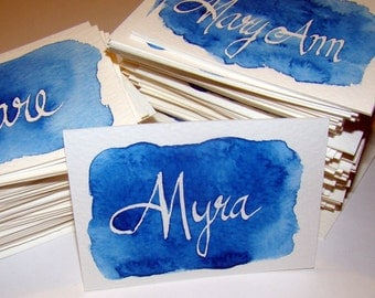 Wedding Place Cards - Watercolor with No-Ink Names, Table Place Cards, Table Setting, Calligraphy Place Cards,  Watercolor