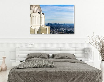 Large Metal, Canvas or Print, Griffith observatory photography, Downtown LA, Los Angeles landmark, Art Deco architecture, Wall art Poster