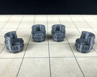 4 Dungeons & Dragons Whiskey Barrel Chairs - Tavern Series - Unpainted 28mm Scale Miniature Keg Wine Ale Wood 3d Printed Oak Barrel Chairs