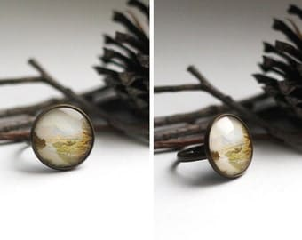 Nature Forest Ring Jewelry. Kinfolk Authentic Ring. Glass Dome Ring. Woman Girl Friend Gift Jewellery