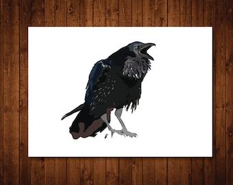 Raven print- Raven illustration wall art poster