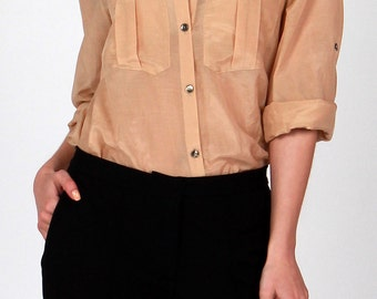 Cotton and silk beige blouse