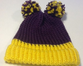 Adorable double Pom child's thick knit winter hat