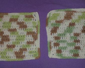 2 Crochet wash cloths new. Multi color