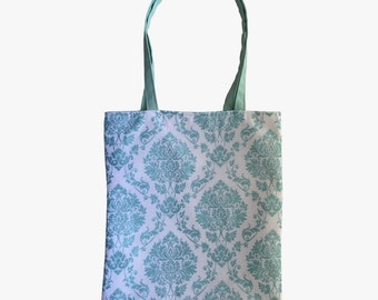 Spa Glitter Damask Reversible Tote Bag