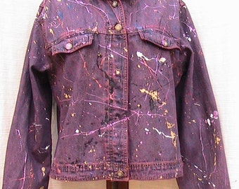 Reworked Hand Painted Vintage BILL BLASS JEANS Jacket Size Large