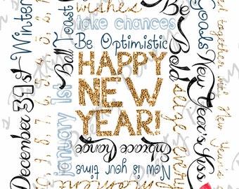 New Years Kiss Subway Art, Printable Subway Art, Word Wall Art, Seasonal Subway Art