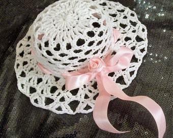 Hat crochet Pink Ribbon decor and little rose, holiday decor, table decor, ceremony decor, decoration of wedding urn