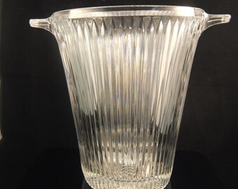 """Stunning Mikasa Ice Bucket Ribbed Crystal Clear Diamond Fire Champagne Cooler Ice Bucket, 9 1/2"""" Tall"""